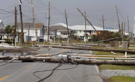 Powerline damage caused by Hurricane Gustav